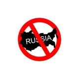 俄罗斯取缔了 停止俄国攻击者 红色可怕的标志为 免版税库存图片