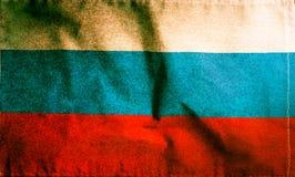 俄罗斯国旗,葡萄酒被过滤的难看的东西颜色 图库摄影