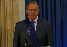 俄罗斯外长谢尔盖・拉夫罗夫正式访问向塞尔维亚 库存图片