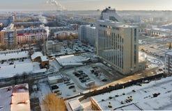 俄罗斯天然气工业股份公司大厦和锅炉 秋明州 免版税图库摄影