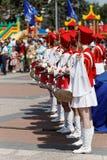 俄罗斯天的庆祝的鼓手 库存图片