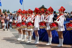 俄罗斯天的庆祝的鼓手 免版税库存照片