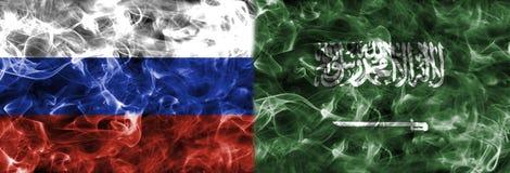 俄罗斯对沙特阿拉伯烟旗子,编组A,国际足球联合会橄榄球世界 免版税库存图片