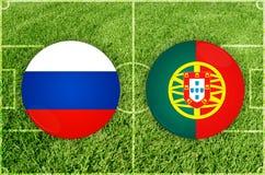 俄罗斯对葡萄牙足球比赛 免版税图库摄影
