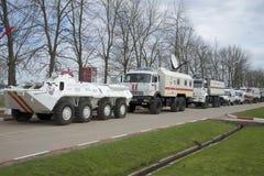 俄罗斯的专栏操作的运输346涅夫斯基抢救中心EMERCOM 免版税库存图片