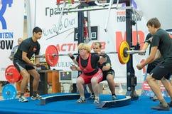 俄罗斯的冠军powerlifting的在莫斯科。 库存图片