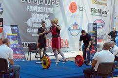 俄罗斯的冠军powerlifting的在莫斯科。 库存照片