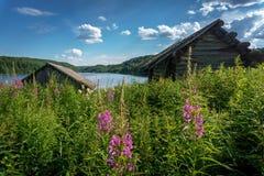 俄罗斯的北部的一个村庄 库存图片