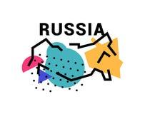 俄罗斯的地图的例证 也corel凹道例证向量 抽象映射 免版税库存照片