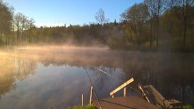 俄罗斯的本质,早晨,渔,雾 库存照片