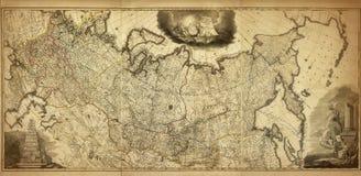 俄罗斯的老地图,在1786年打印 免版税库存图片