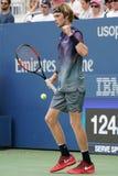 俄罗斯的职业网球球员安德雷Rublev行动的在他的美国公开赛2017秒回合比赛期间 免版税图库摄影