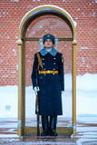 俄罗斯的总统军团的卫兵在无名战士附近坟茔的和永恒火焰在亚历山大在克里姆林宫墙壁附近从事园艺 免版税库存照片