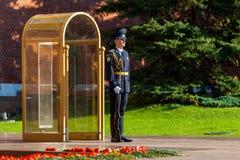 俄罗斯的总统军团的卫兵在无名战士附近坟茔的  库存图片