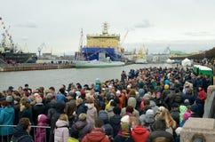 俄罗斯的破冰船节日  免版税库存照片