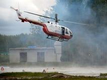 俄罗斯的直升机BO-105 Centrospas EMERCOM Noginsk部的抢救中心的范围的紧急情况 库存照片