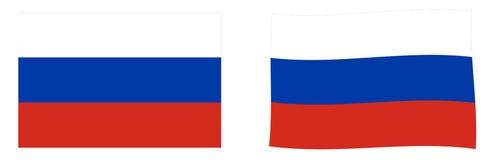 俄罗斯联邦俄罗斯旗子 简单和有一点挥动的ver 皇族释放例证