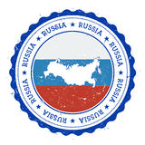 俄罗斯联邦地图和旗子在葡萄酒橡胶 向量例证