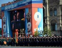 俄罗斯联邦弗拉基米尔・普京的总统发表演讲关于红场在胜利天的庆祝时 免版税图库摄影