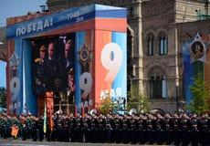 俄罗斯联邦弗拉基米尔・普京的总统发表演讲关于红场在胜利天的庆祝时 库存图片