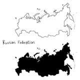俄罗斯联邦概述和剪影地图-导航illust 免版税库存照片