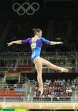 俄罗斯联邦的艺术性的体操运动员阿莉娅・穆斯塔芬娜在平衡木竞争在妇女` s全能体操在里约2016年 免版税库存图片