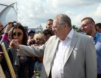 俄罗斯自由民主党弗拉基米尔・日里诺夫斯基的领导在新闻节日的在莫斯科 库存照片