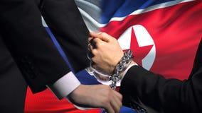俄罗斯认可北朝鲜,被束缚的胳膊,政治或者经济冲突 股票视频