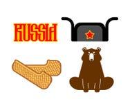俄罗斯集合标志象 韧皮鞋子和熊 Ushanka和红色星 库存例证