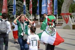 俄罗斯顿河畔罗斯托夫6月23日2018扇动3月到比赛的体育场罗斯托夫竞技场在墨西哥和韩国之间 图库摄影