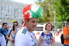 俄罗斯顿河畔罗斯托夫6月23日2018扇动3月到比赛的体育场罗斯托夫竞技场在墨西哥和韩国之间 免版税库存图片