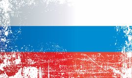 俄罗斯,俄罗斯联邦,起皱纹的肮脏的斑点的旗子 库存例证