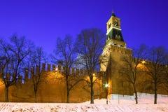 俄罗斯,克里姆林宫在晚上 免版税库存照片