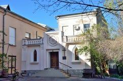 俄罗斯,克里米亚 辛菲罗波尔,德语在Ekaterinenskaya街道上的Evang信义会 库存照片