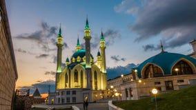 俄罗斯,共和国鞑靼斯坦共和国,喀山, Qol rif清真寺,时间间隔,美好的晚上都市风景 股票视频