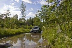 俄罗斯,卡累利阿, 2015年7月16日:三菱帕杰罗体育照片在俄罗斯 三菱帕杰罗是一辆紧凑四轮驱动的车ro 免版税库存图片