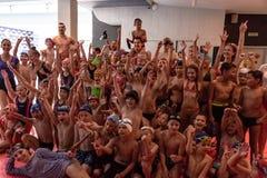 俄罗斯,哈巴罗夫斯克- 2018年8月31日:儿童` s假日海王星天 免版税库存图片
