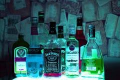 俄罗斯,喀山25 02 2017年:酒精瓶 图库摄影