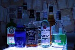 俄罗斯,喀山25 02 2017年:酒精瓶 免版税库存图片