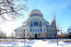 俄罗斯,圣彼德堡,喀琅施塔得,Nikolsky海军大教堂,2018年3月5日 历史记录 库存图片