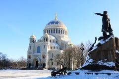 俄罗斯,圣彼德堡,喀琅施塔得,Nikolsky海军大教堂,2018年3月5日 历史记录 库存照片