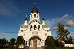 俄罗斯,圣彼德堡,教会8月15,2018,圣亚历克西斯莫斯科的城市居民Gatchina高速公路的,一非常beauti 免版税库存照片