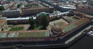 俄罗斯,圣彼德堡,鸟瞰图火星,三位一体桥梁,彼得和保罗堡垒,屋顶,夏天全景领域  股票录像