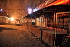 俄罗斯,圣彼德堡, 29,12,2012个油灰柜台在夜s 库存图片