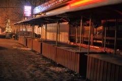 俄罗斯,圣彼德堡, 29,12,2012个油灰柜台在夜s 图库摄影