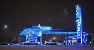 俄罗斯,圣彼德堡, 18,01,2014在Th的加油站Gazpromneft 库存图片