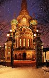 俄罗斯,圣彼德堡,2019年1月2日 基督的复活血液的或者救主的教会血液的 库存照片