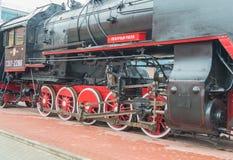 俄罗斯,圣彼德堡, 15, 2017年11月-在的蒸汽机车 免版税库存照片