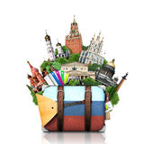 俄罗斯,地标莫斯科,减速火箭的手提箱 免版税图库摄影