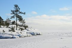 俄罗斯,拉多加湖Ladozhskoye, Murolakhti Kocherga海湾在冷淡的冬日 库存图片